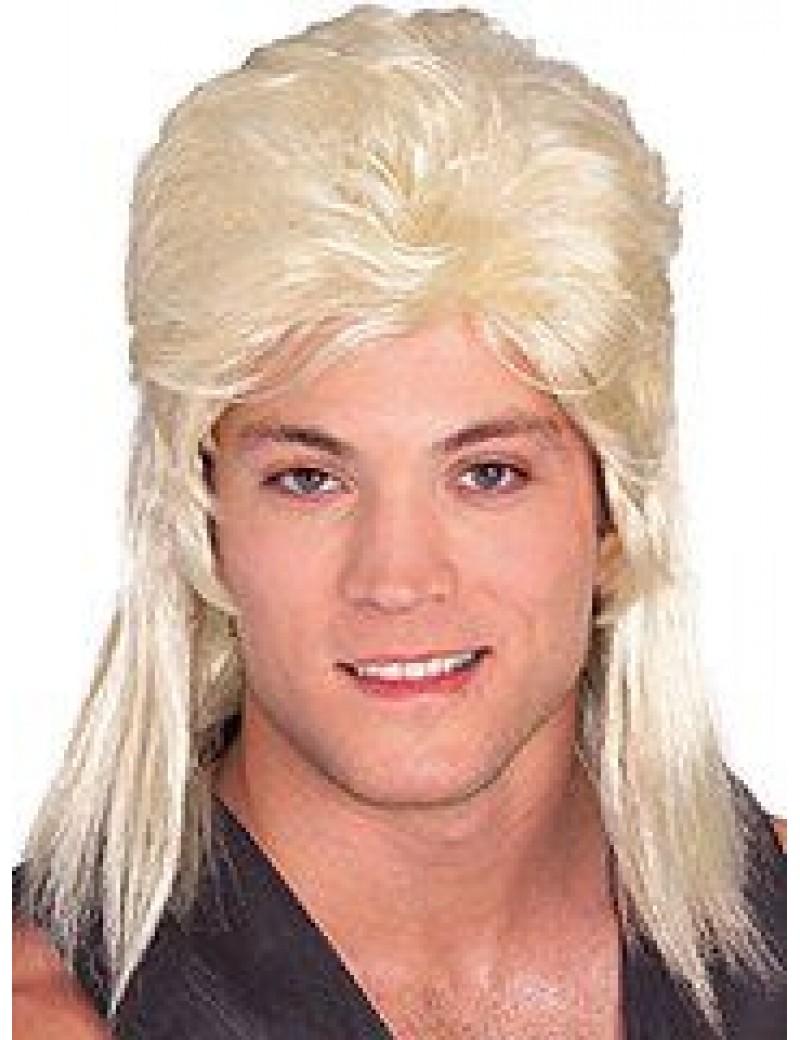 1980s mullet mens Garth stag party wig blonde Rubies 51165