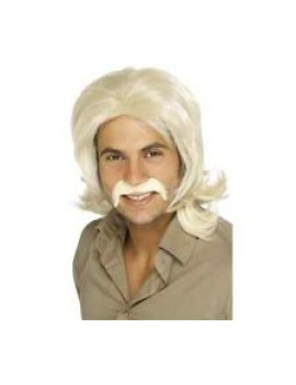 70s Retro Wig Blonde With Moustache