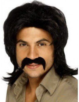 70s Retro Wig Black With Moustache Smiffys 42253