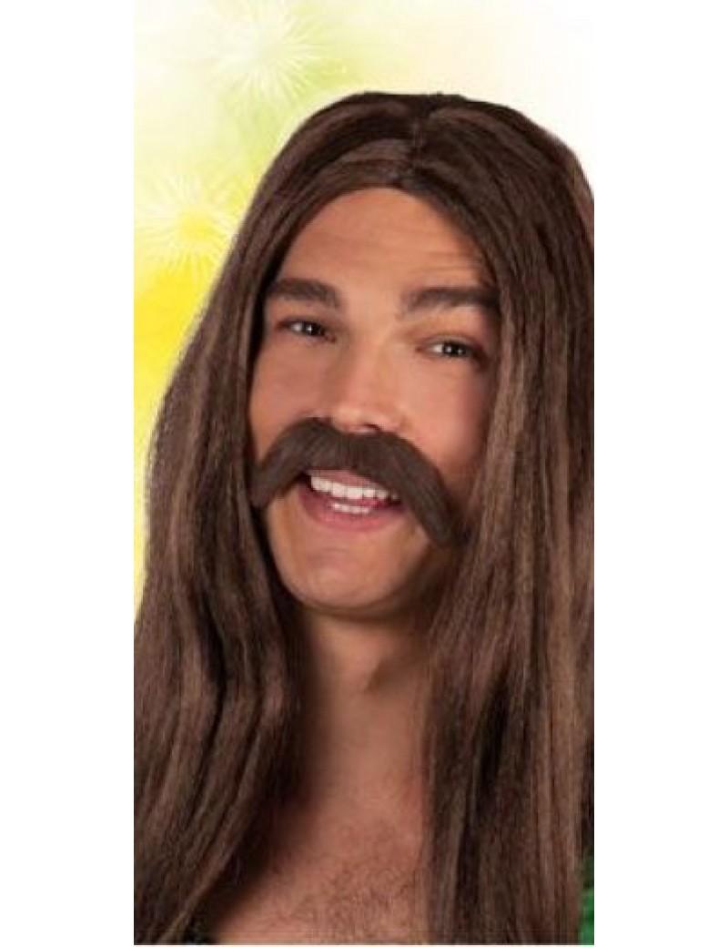 70s  hippie hippy mens stick on false stick on fake moustache brown Boland Palmers 5162