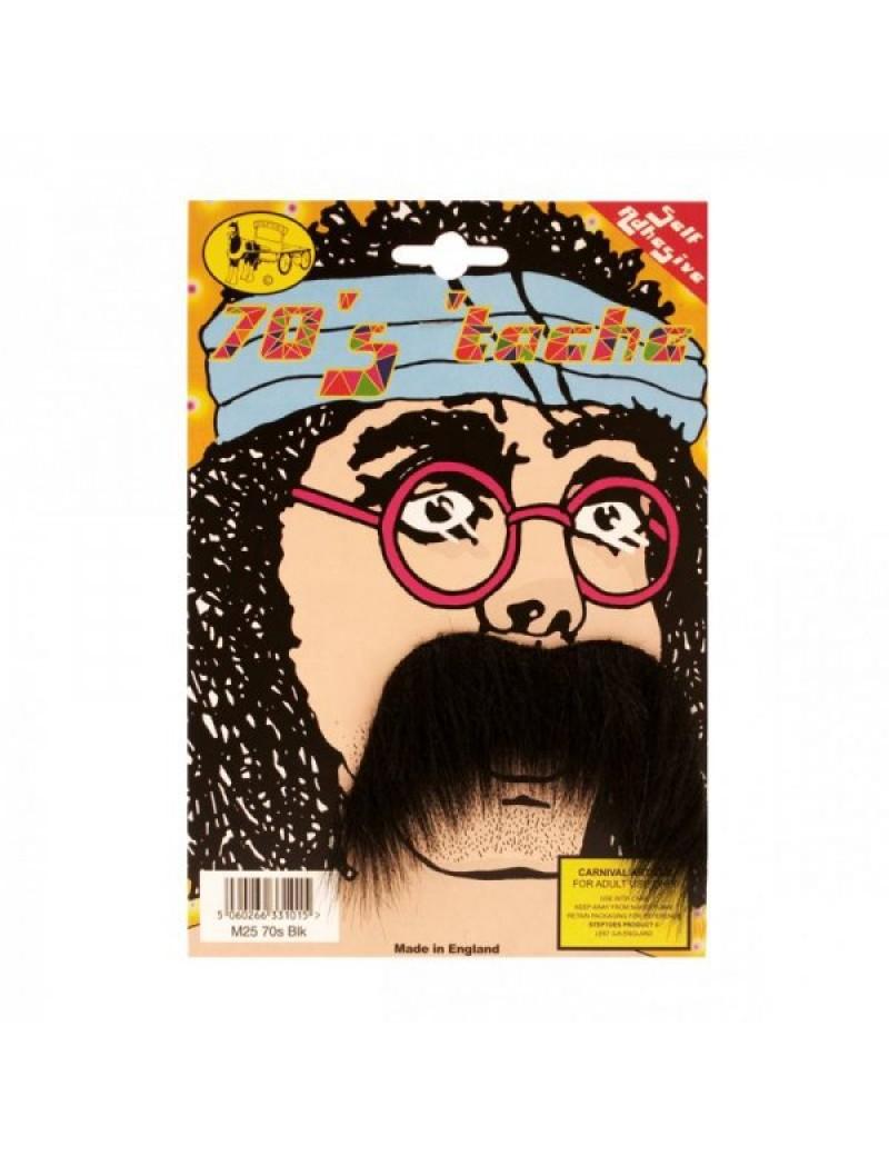 70s hippy pimp fancy dress costume party stick on false moustache black Bristol Novelty MB059