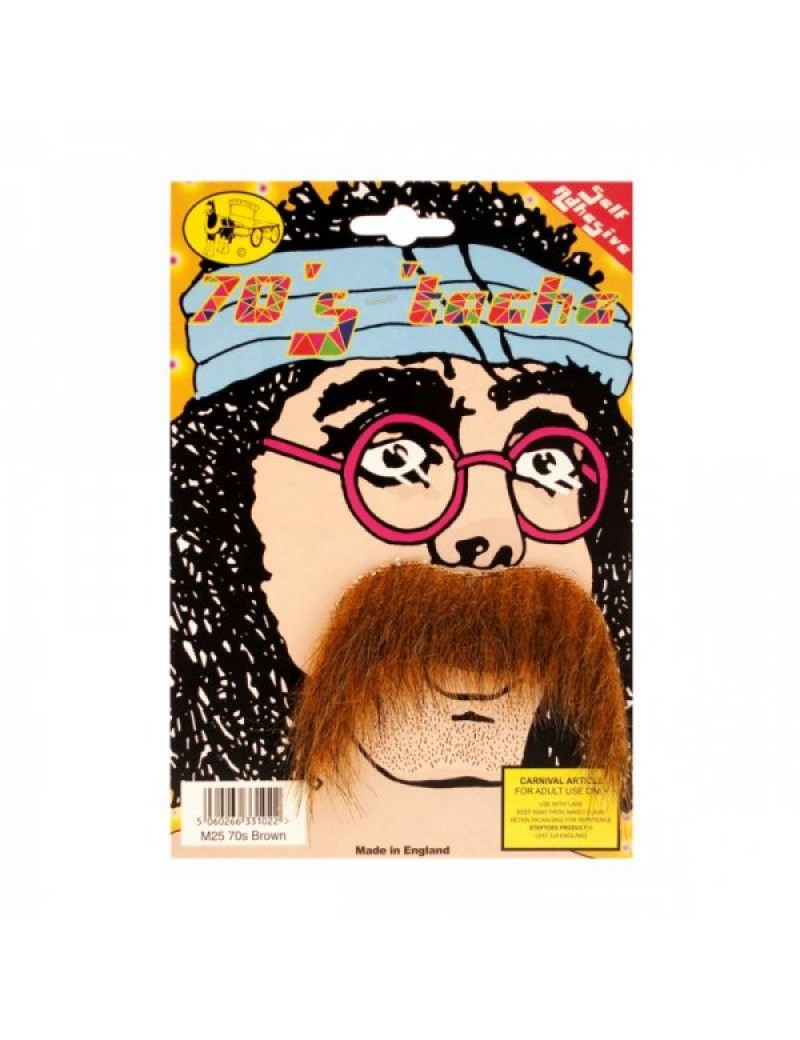70s Hippy self adhesive false stick on mens  fancy dress moustache brown Bristol Novelty MB061