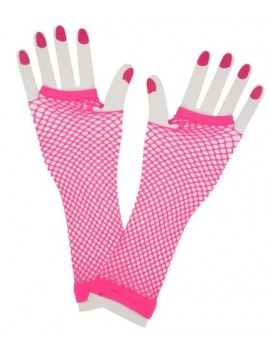 80s Fishnet mesh Neon Pink long gloves 23050