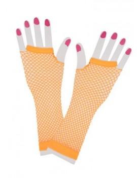 80s fishnet neon orange long gloves 23051