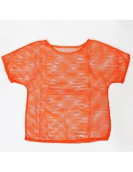 80s Mesh fishnet  top Neon Orange retro shirt 11171
