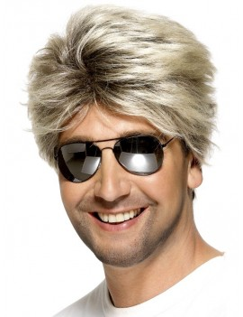 80s Miami Vice Don Johnson George Michael high lighted street mens fancy dress costume party retro wig Smiffys 42029