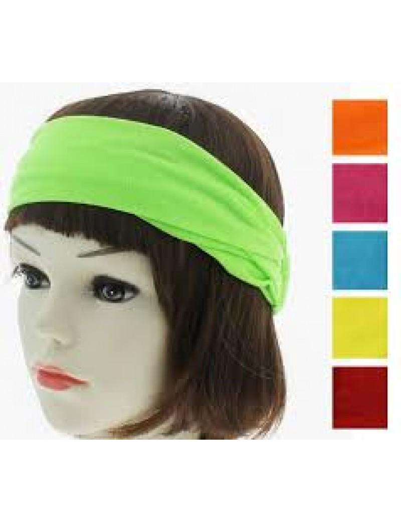 80s Neon bandeaux 3 in 1 fabric headband 25476