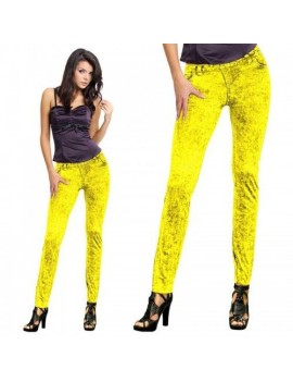 80s neon print retro  costume jean leggings jeggings  Yellow FO-29154