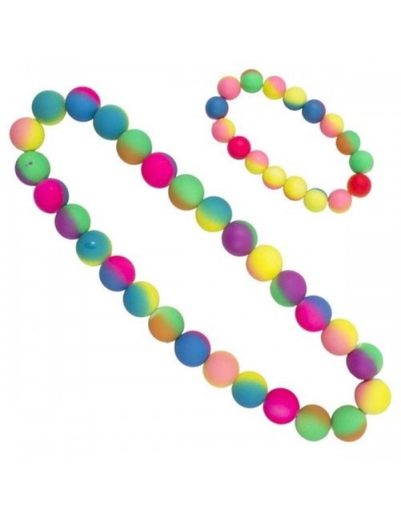 Neon necklace and bracelet beads set Folat FO-21732