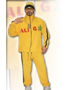 Ali Gee yellow tracksuit tv film 90s  character  hire deluxe rental costume CA3 CA3A