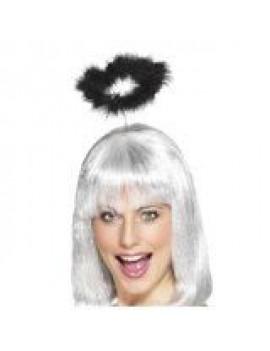 Angel halo on headband marabou feather fancy dress Halloween costume party black Smiffys 25242