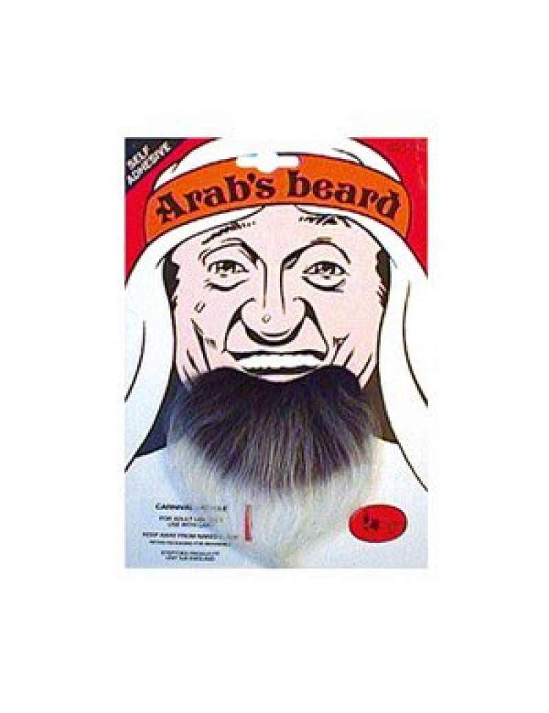 Arab fancy dress costume party false self adhesive mens stick on beard Grey Bristol Novelty MB040