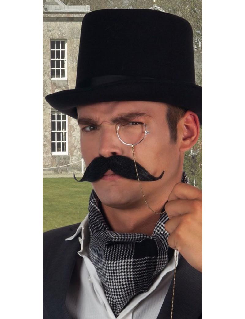 Aristocrat Victorian Bavarian Oktoberfest Baron black mens fake stick on moustache Boland 5162