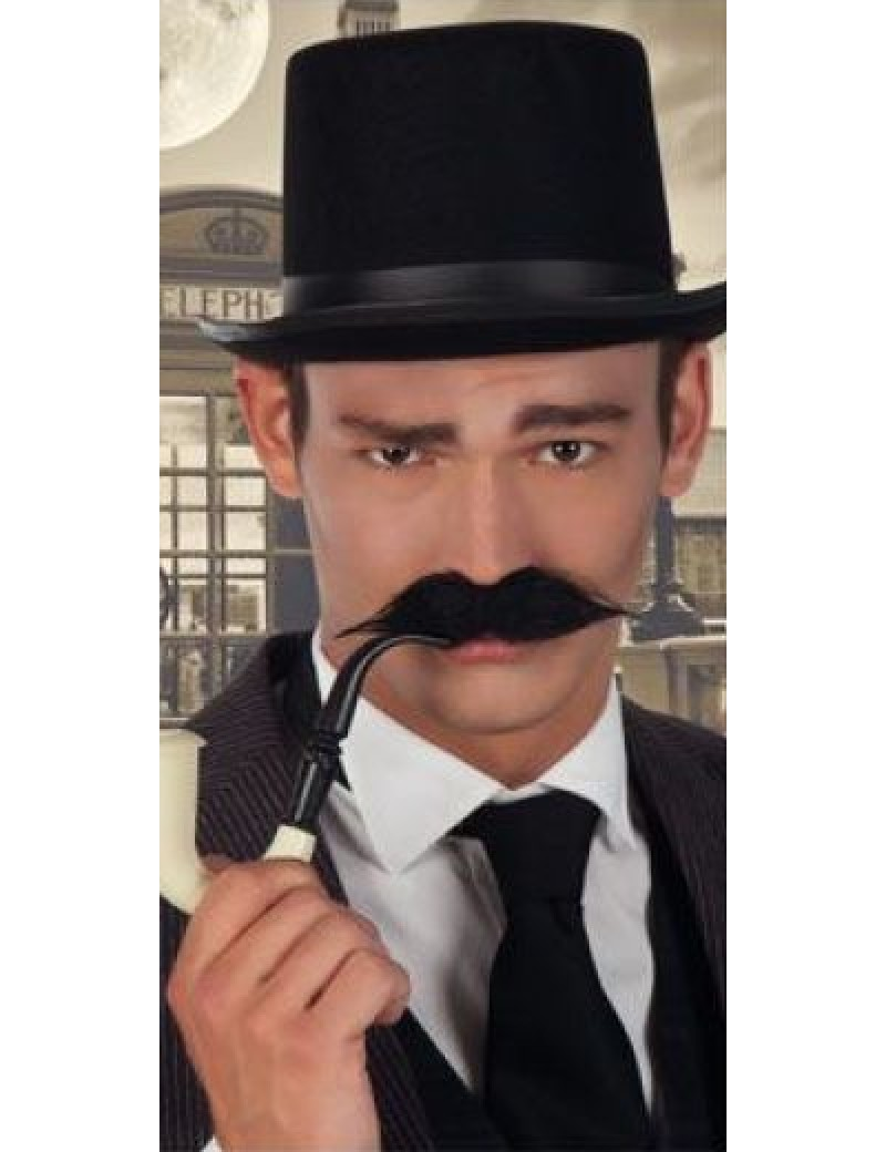 Aristocrat Victorian fake stick on false mens moustache black Boland 5162