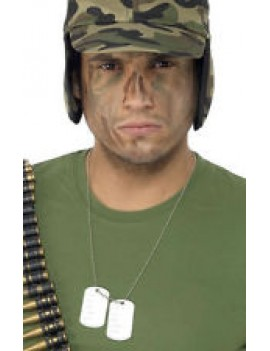 Army soldier military metal fancy dress costume party dog tags Bristol Novelty BA028