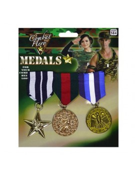 Army war combat hero military pin on fancy dress costume party prop medals Bristol Novelty BA584