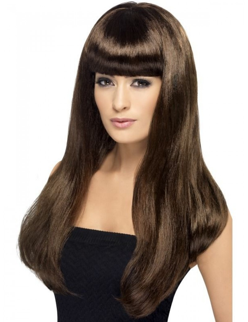 Babelicious 60s costume party  80s long Brown wig Smiffys 42425