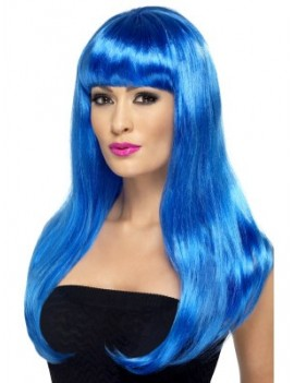 Babelicious Katy Perry style costume party womans  mermaid wig long fringed blue Smiffys 42423