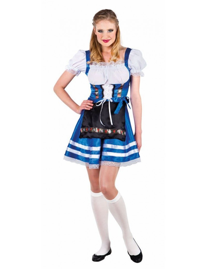 Bavarian Beer wench Oktoberfest ladies fancy dress party costume blue Large Boland Palmers 3301