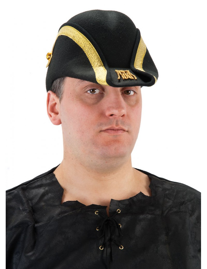 Bicorn Admiral Lord Nelson Napoleon deluxe black and gold felt mens captain pirate nautical hat Palmer Agencies 5748