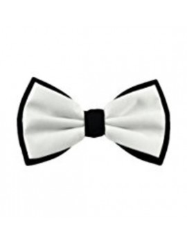 Black and white deluxe bow tie  theatrical menswear accessory Stylex Party ST2168