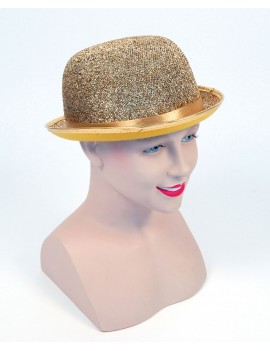 Bowler hat gold lurex glitter felt fancy dress costume party novelty Bristol Novelty BH445