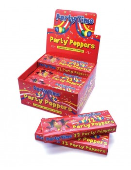 Box of 12 Party poppers Bristol Novelty PG027