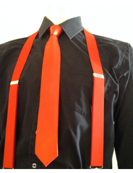 Braces and tie set RED mens fancy dress costume party gangster Gatsby accessories Stylex Party ST2502 ST0829