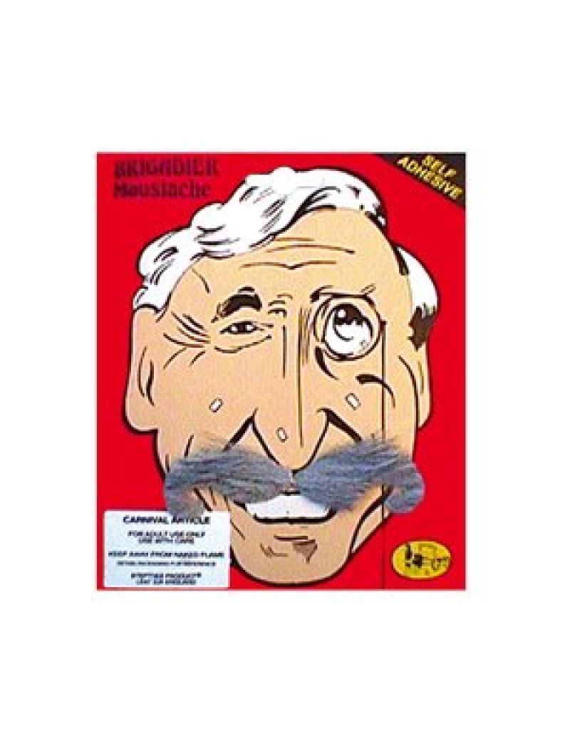 Brigadier stick on moustache grey Steptoes 14528