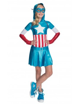 Captain America American Dream superhero girls deluxe fancy dress party Marvel tv film hoodie costume Rubies 610231