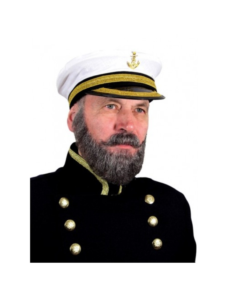 Captain Titanic real hair theatrical professional Santa beard and moustache set Metamorph 103728