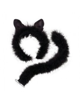 Cat fancy dress costume party accessory ears and tail set black marabou deluxe Bristol Novelty DS050