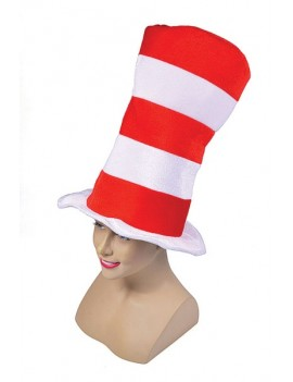 Cat in The Hat red and white striped top hat  costume party Dr Seuss book day accessory Bristol Novelty BH597