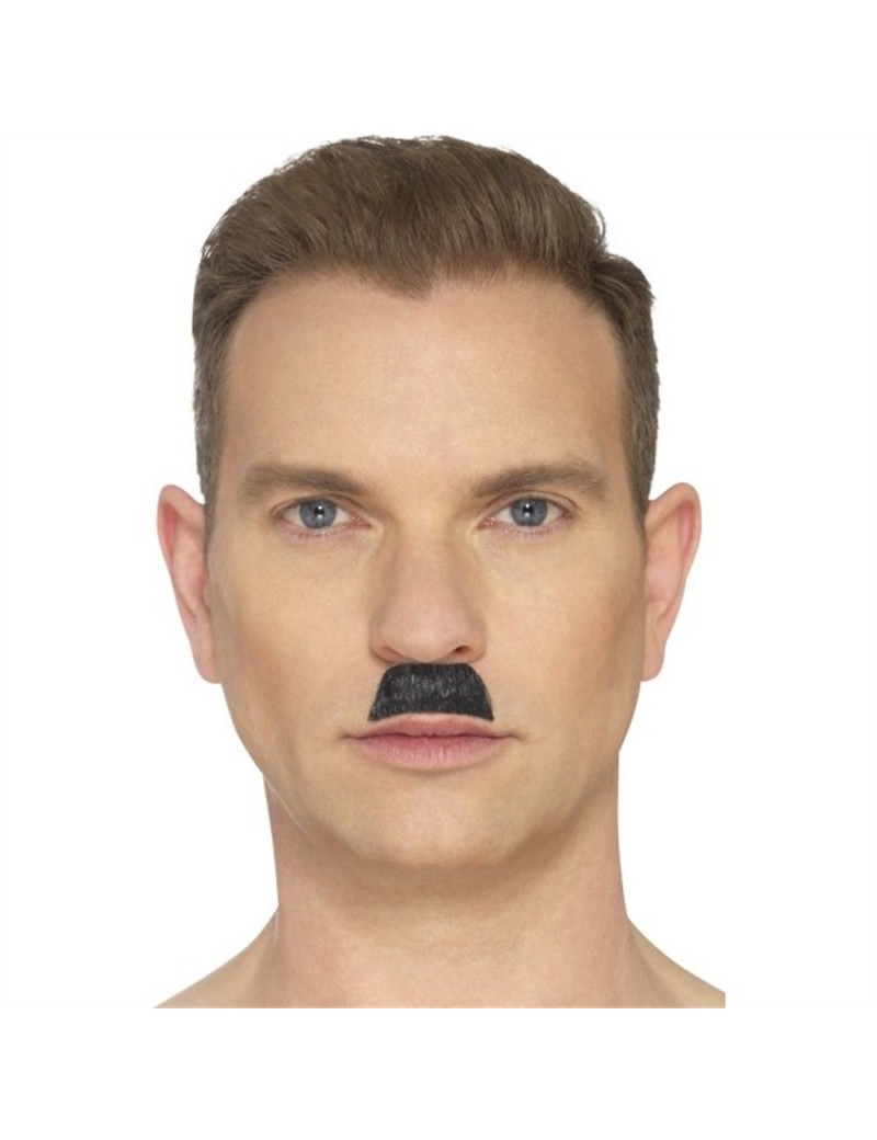 Chaplin Hitler Hardy Toothbrush black theatrical false fake hand knotted  moustache Smiffys 44750