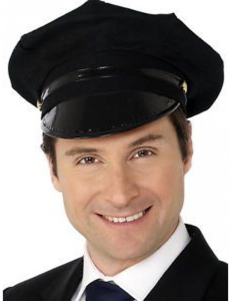 Chauffeur black peaked cap Smiffys 31701