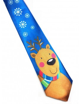 Christmas Reindeer blue Menswear novelty gift mens Tie
