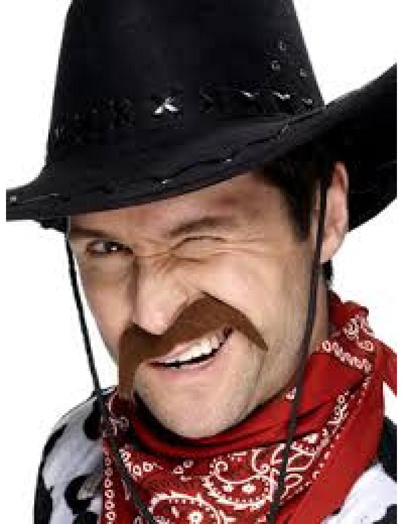 Cowboy 70s mens stick on false fancy dress costume party moustache brown Smiffys 11929