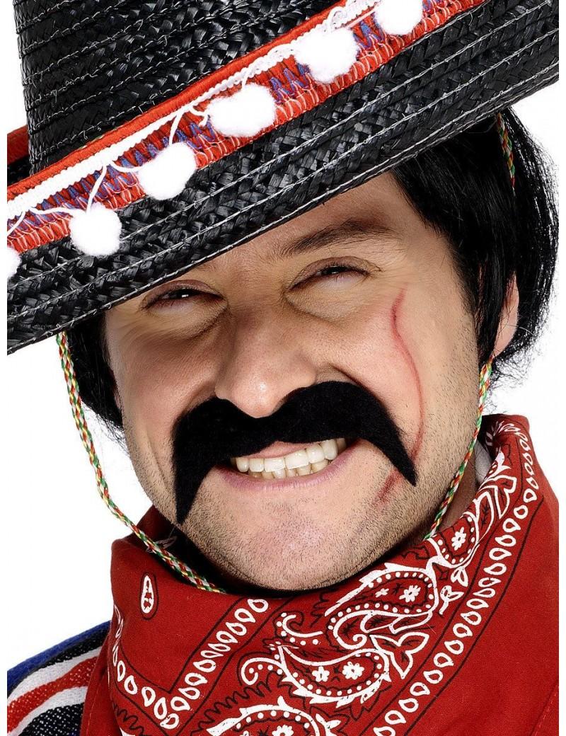 Cowboy 70s Mexican mens stick on false party moustache Black Smiffys 11911