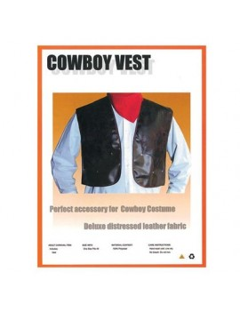 Cowboy brown vinyl costume wild west western fringed mens sheriff waistcoat Bristol Novelty AC489