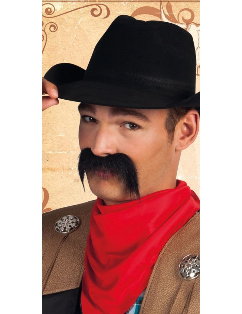 Cowboy Mexican fake stick on moustache black self adhesive Boland Palmers 5162