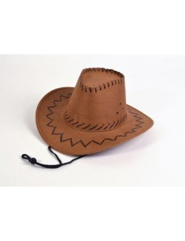 Cowboy stitched style hat brown Bristol Novelty BH425