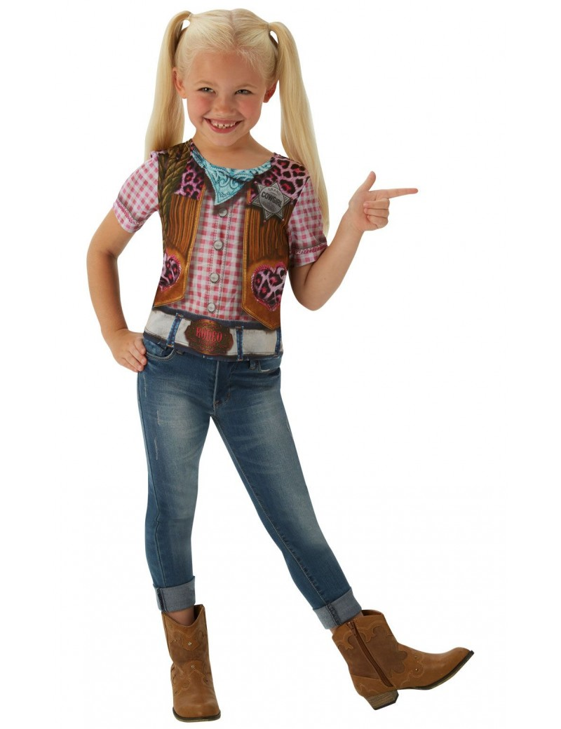 Cowgirl western T Shirt girls Wild West instant fancy dress party costume Rubies 630694