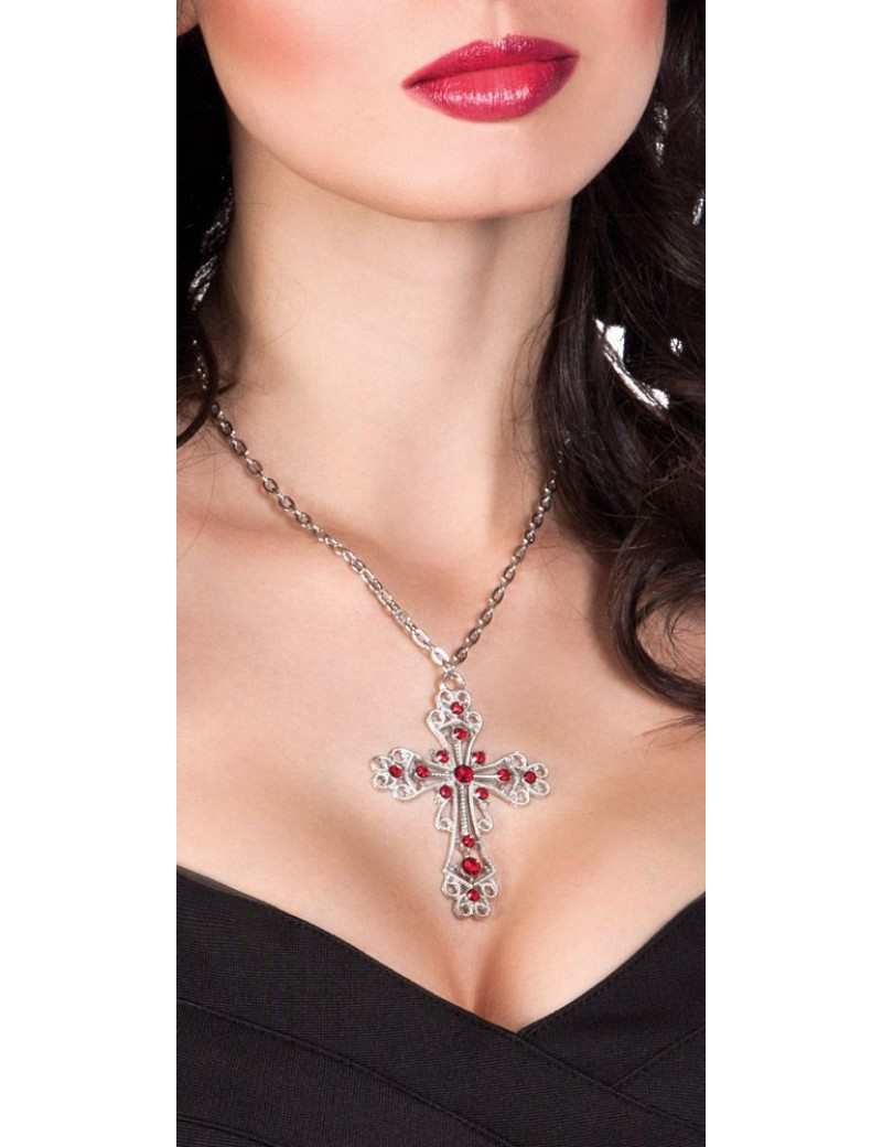 Cross gothic jewelled ornate silver metal deluxe with red garnets fancy dress party costume accessory Boland 4341D