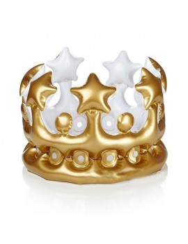 Crown gold inflatable blow up King Queen novelty prop hat Royal headwear
