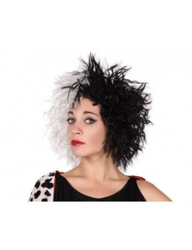 Cruella black and white book character villain wig Creative Collection AT-29783