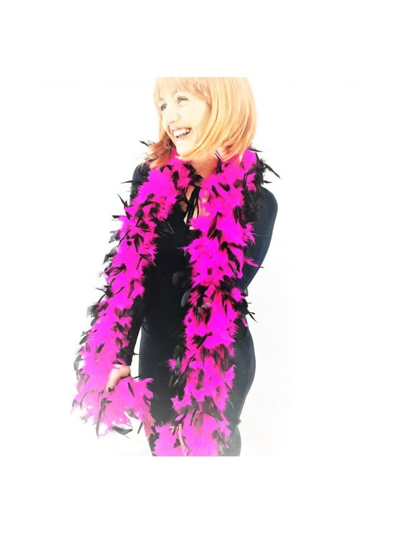 Feather Boa Shocking Neon Pink Black Tips Stylex Party ST4988