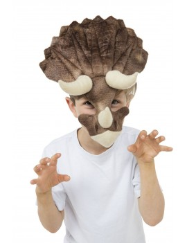 Dinosaur Triceratops mask on headband fancy dress cavman pre historic costume animal party Bristol Novelty EM782
