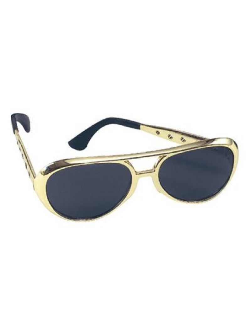 Elvis 70s Glasses Gold E Apollo 64858