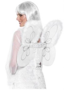 Fairy wings white net with silver glitter Smiffys 25441