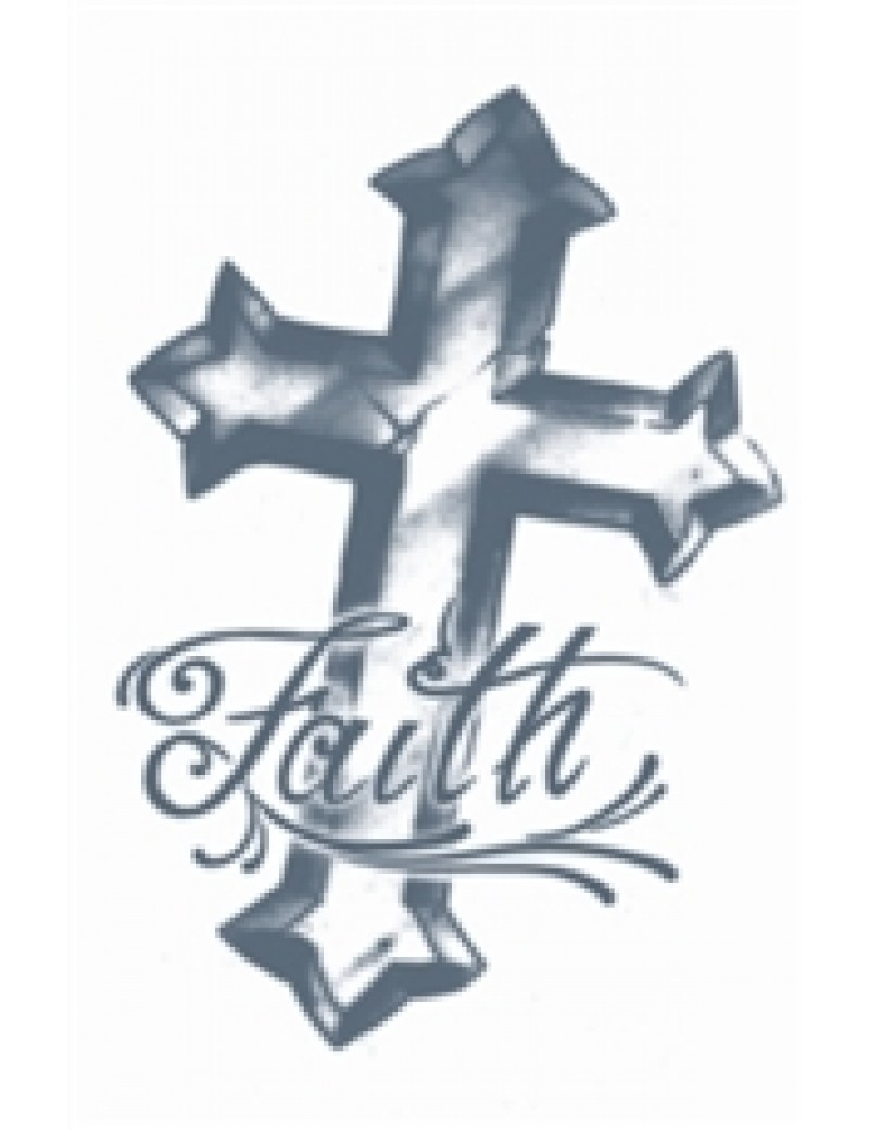 Prison Faith Cross temporary tattoo Tinsley Transfers PR-310